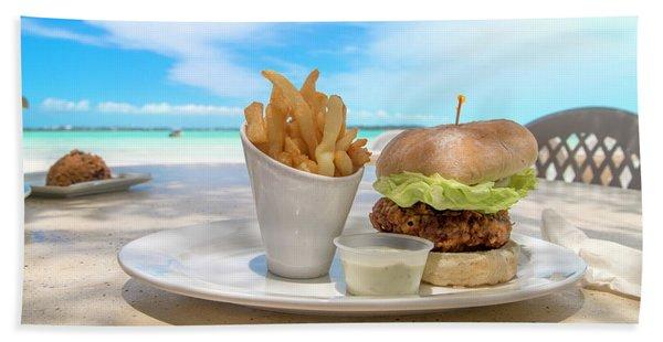 Caribbean Conch Burger Beach Towel