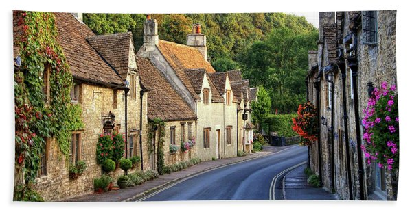Beach Towel featuring the photograph Castle Combe High Street by Michael Hope