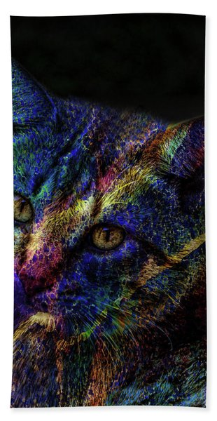 Cat Of Many Colors Beach Towel