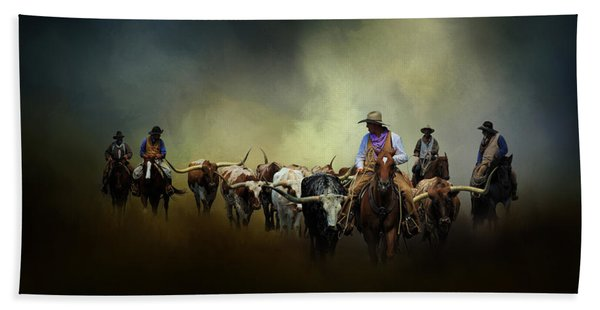 Cattle Drive At Dawn Beach Towel