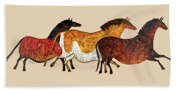 Cave Horses In Beige Beach Sheet