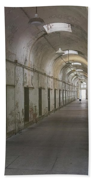 Beach Towel featuring the photograph Cellblock Hallway by Tom Singleton