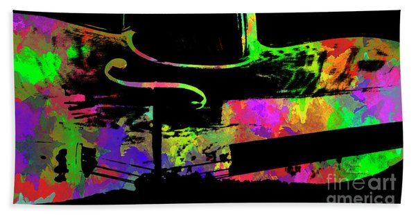 Beach Towel featuring the mixed media Cello by David Millenheft