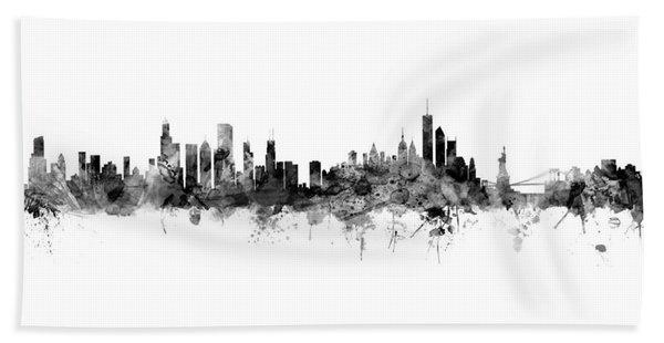 Chicago And New York City Skylines Mashup Beach Sheet