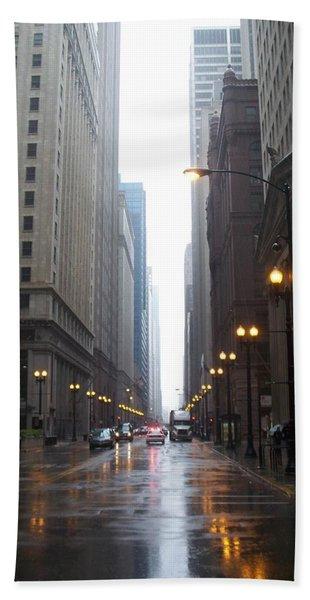 Chicago In The Rain 2 Beach Towel