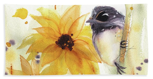 Chickadee And Sunflowers Beach Towel