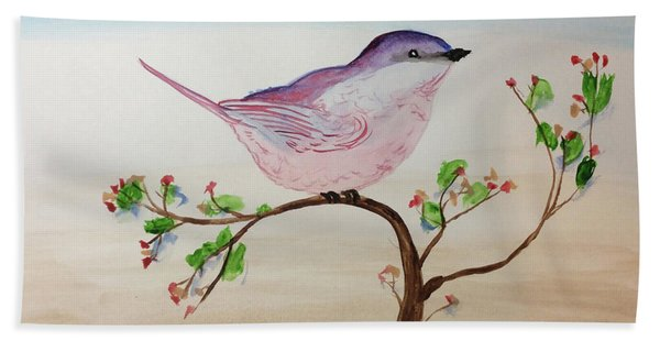 Chickadee Standing On A Branch Looking Beach Towel