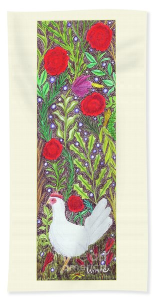 Chicken With An Attitude In Vegetation Beach Towel