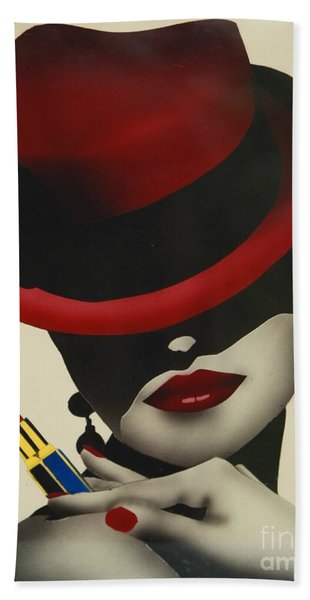 Beach Towel featuring the painting Christion Dior Red Hat Lady by Jacqueline Athmann