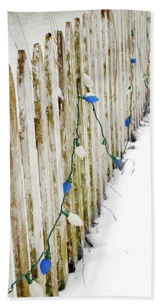 Christmas Fence Beach Towel