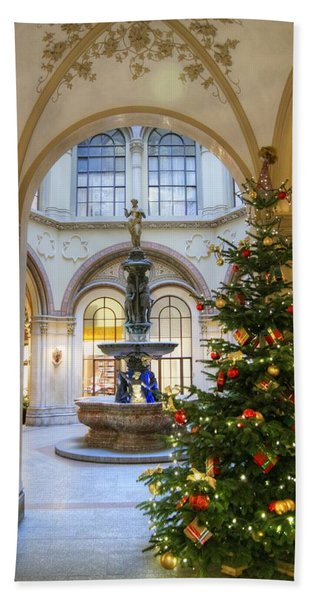 Christmas Tree In Ferstel Passage Vienna Beach Towel