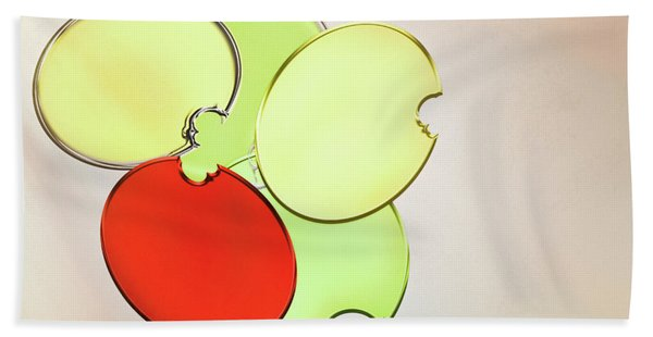 Circles Of Red, Yellow And Green Beach Towel