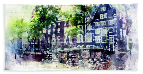 city life in watercolor style - Old Amsterdam  Beach Towel