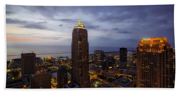 Cleveland At Twilight Beach Towel