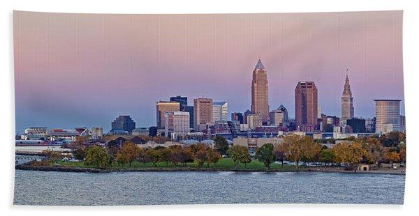 Cleveland Autumn Sunset Skyline Panorama Beach Towel