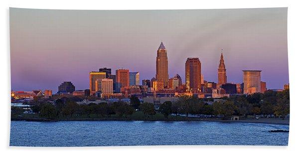 Cleveland Skyline At Sunset Panorama Beach Towel