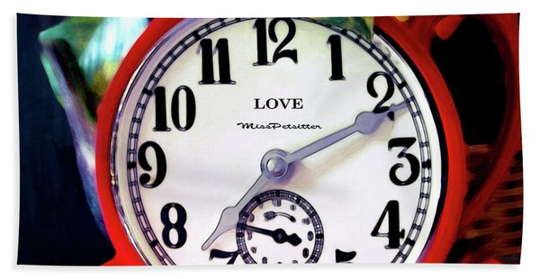 Clock In The Garden  4 Beach Sheet
