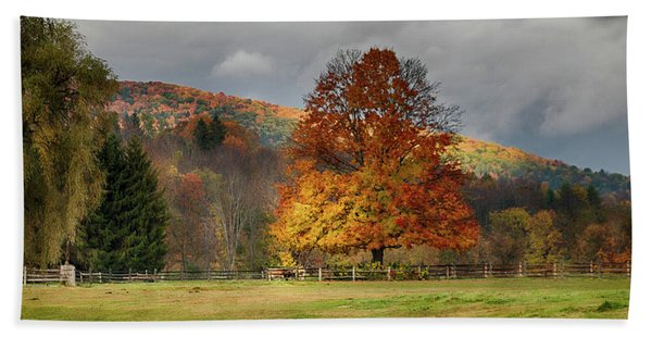 Beach Towel featuring the photograph Clouds Part Over Marsh Billings-rockefeller Nhp by Jeff Folger