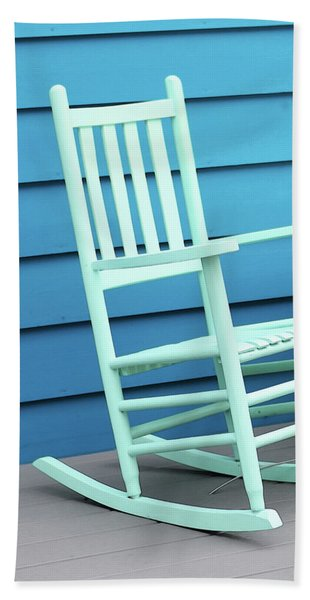 Coastal Beach Art - Blue Rocking Chair - Sharon Cummings Beach Towel