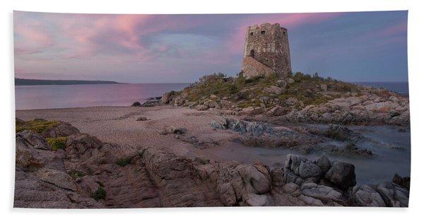Coastal Tower At Sunset Beach Towel