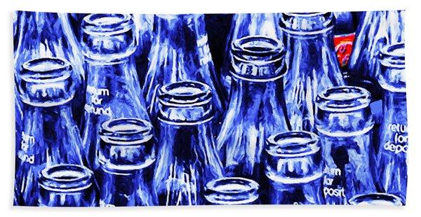 Coca-cola Coke Bottles - Return For Refund - Square - Painterly - Blue Beach Towel