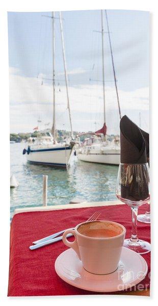 Coffee At Mediterranean Harbour Beach Towel