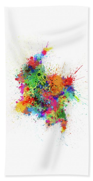 Colombia Paint Splashes Map Beach Towel