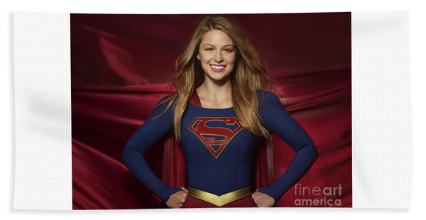 Colored Pencil Study Of Supergirl - Melissa Benoist Beach Towel