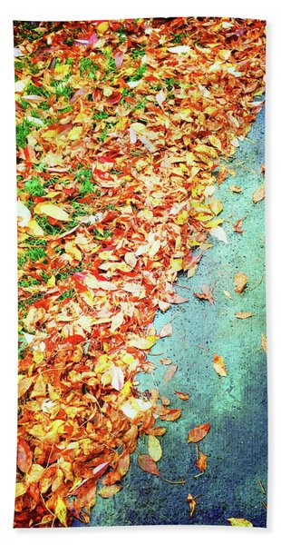 Colorful Autumn Leaves Background Beach Towel