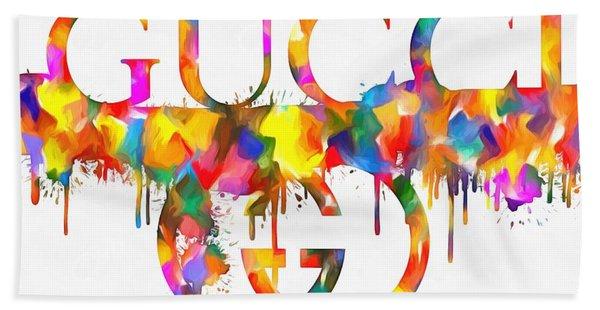 Colorful Gucci Paint Splatter Beach Towel