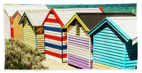 Colourful Bathing Sheds Beach Towel