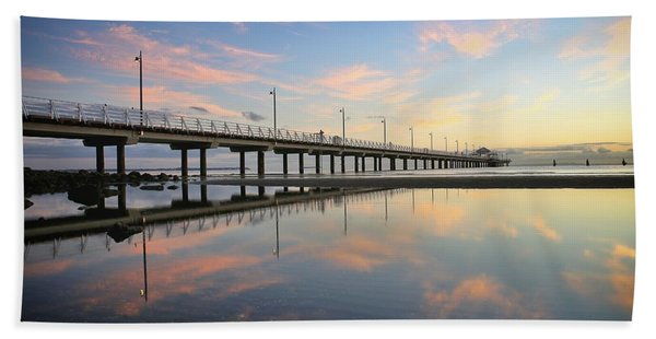 Colourful Cloud Reflections At The Pier Beach Towel