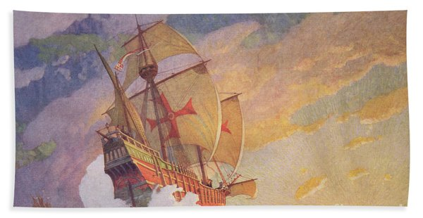 Columbus Crossing The Atlantic Beach Towel