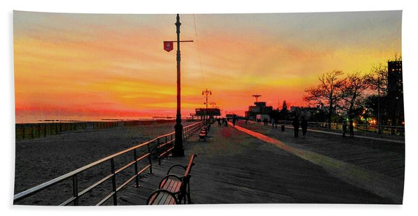 Coney Island Boardwalk Sunset Beach Towel
