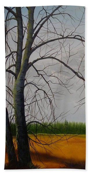 Beach Towel featuring the painting Cottonwoods by Judy Bradley