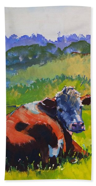 Cow Lying Down On A Sunny Day Beach Sheet