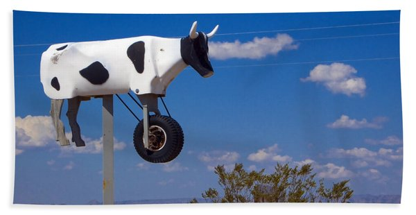 Beach Towel featuring the photograph Cow Power by Skip Hunt