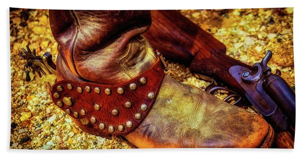 Cowboy Boot Wirth Spur And Shotgun Beach Towel