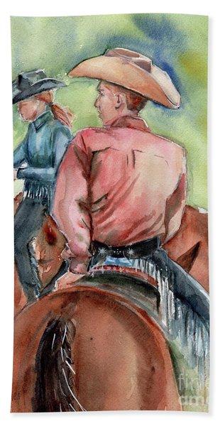 Cowboy, Looking Back Beach Towel