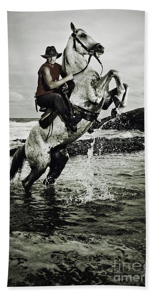Cowboy On The Rear Up Horse In The River Beach Towel