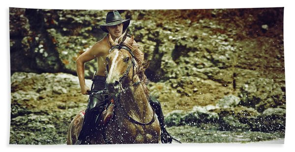Cowboy Riding In The Sea Beach Towel