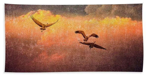 Cranes Lifting Into The Sky Beach Towel