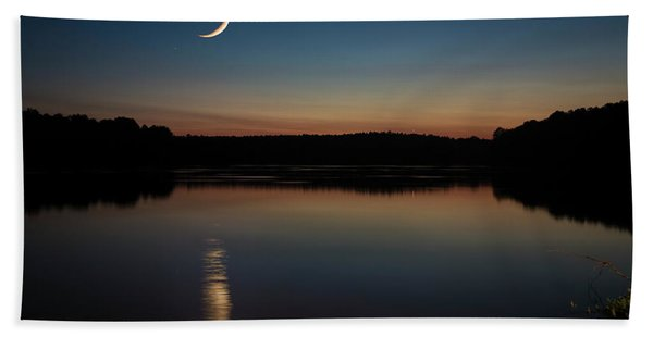 Beach Towel featuring the photograph Crescent Moon Set At Lake Chesdin by Jemmy Archer