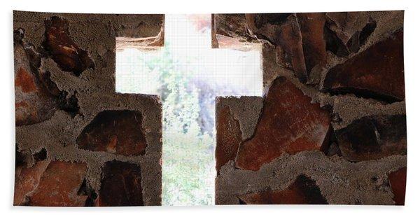 Cross Shaped Window In Chapel  Beach Towel