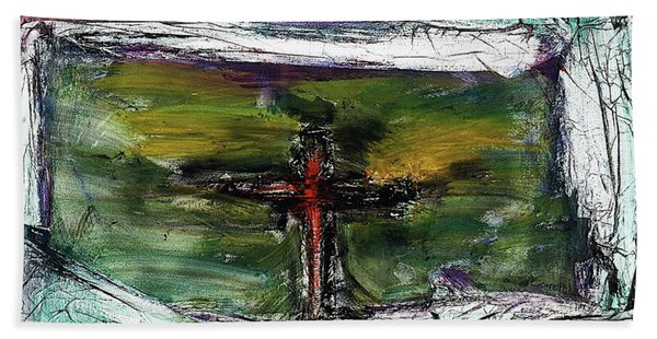 Beach Towel featuring the painting Crucifixion #3 by Michael Lucarelli