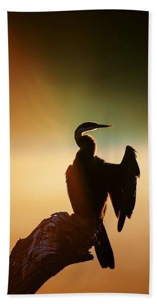 Darter Bird With Misty Sunrise Beach Towel
