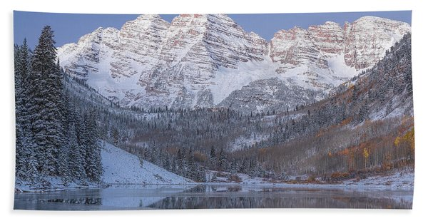 Beach Towel featuring the photograph Dawn At Maroon Bells 2 by Jemmy Archer