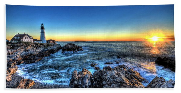 Dawn At Portland Head Lighthouse Beach Towel