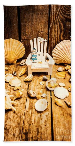 Deckchairs And Seashells Beach Towel