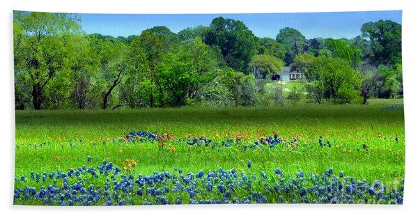 Decorative Texas Homestead Bluebonnets Meadow Mixed Media Photo H32517 Beach Towel